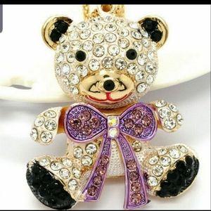 New BJ necklace enamel/crystal Bear Pendant